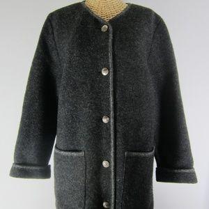 Vtg L.L. Bean Small Gray Boiled Wool Coat Austria
